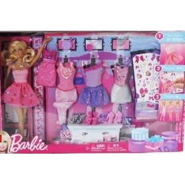 邮Barbie芭比娃娃玩具芭比设计搭配礼盒套装Y7503 -网上购买芭比